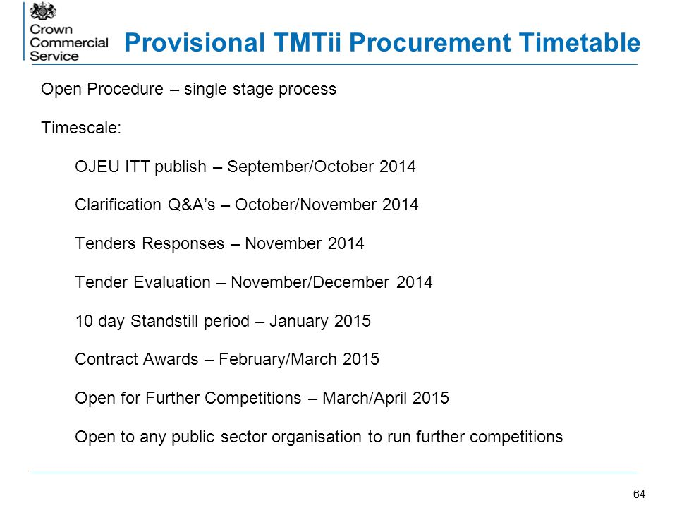 Provisional TMTii Procurement Timetable
