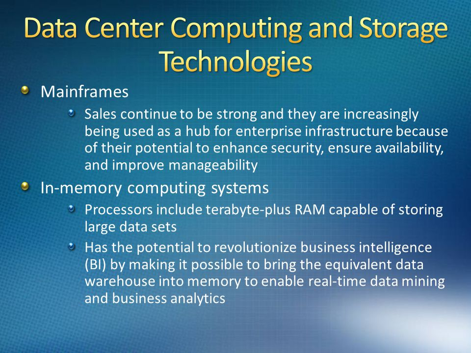 Data Center Computing and Storage Technologies