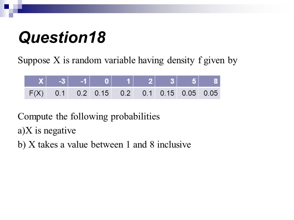 Question18 Suppose X is random variable having density f given by
