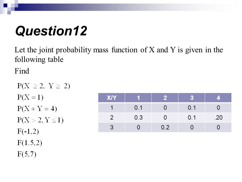Question12 Let the joint probability mass function of X and Y is given in the following table. Find.