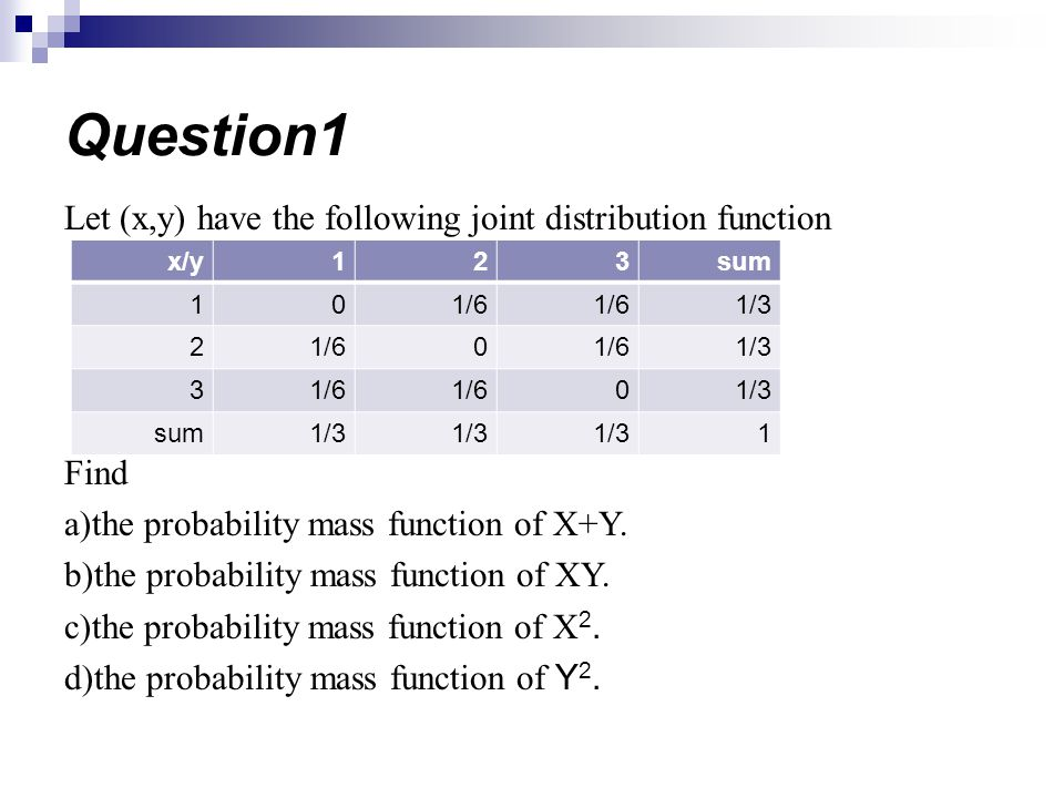 Question1 Let (x,y) have the following joint distribution function
