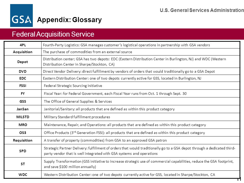 Appendix: Glossary 4PL. Fourth-Party Logistics: GSA manages customer's logistical operations in partnership with GSA vendors.