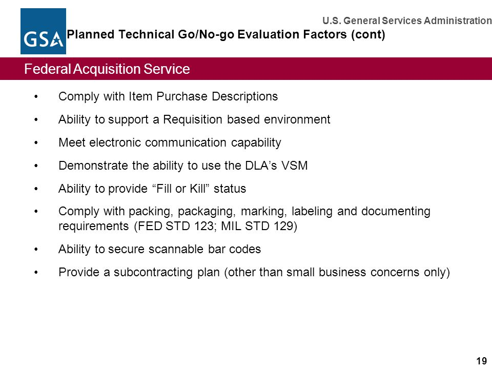 Planned Technical Go/No-go Evaluation Factors (cont)