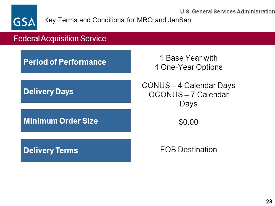 Key Terms and Conditions for MRO and JanSan