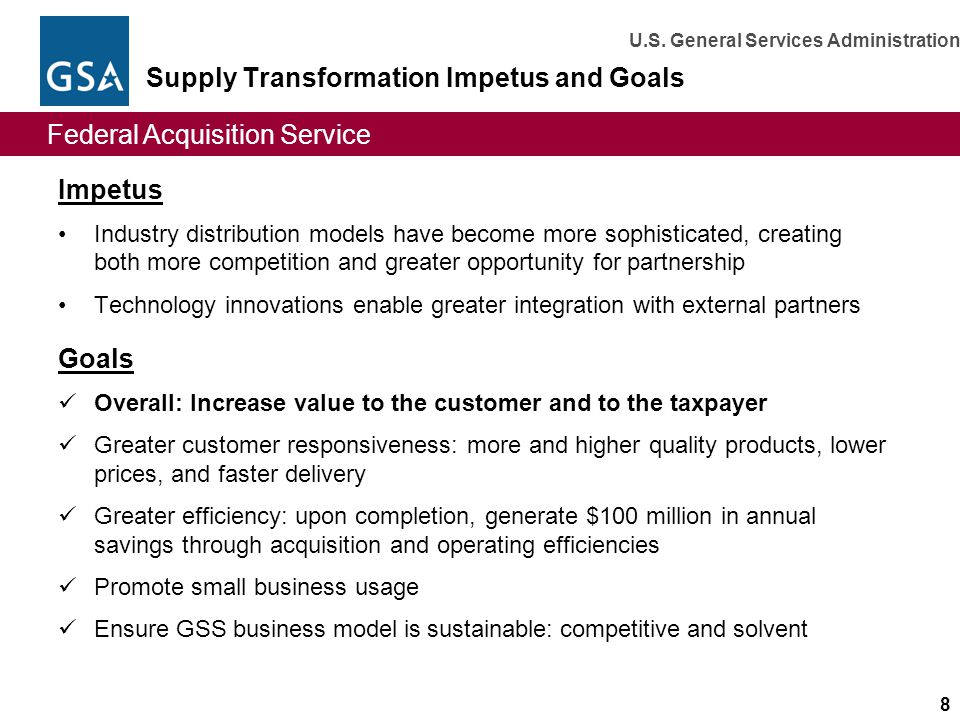 Supply Transformation Impetus and Goals