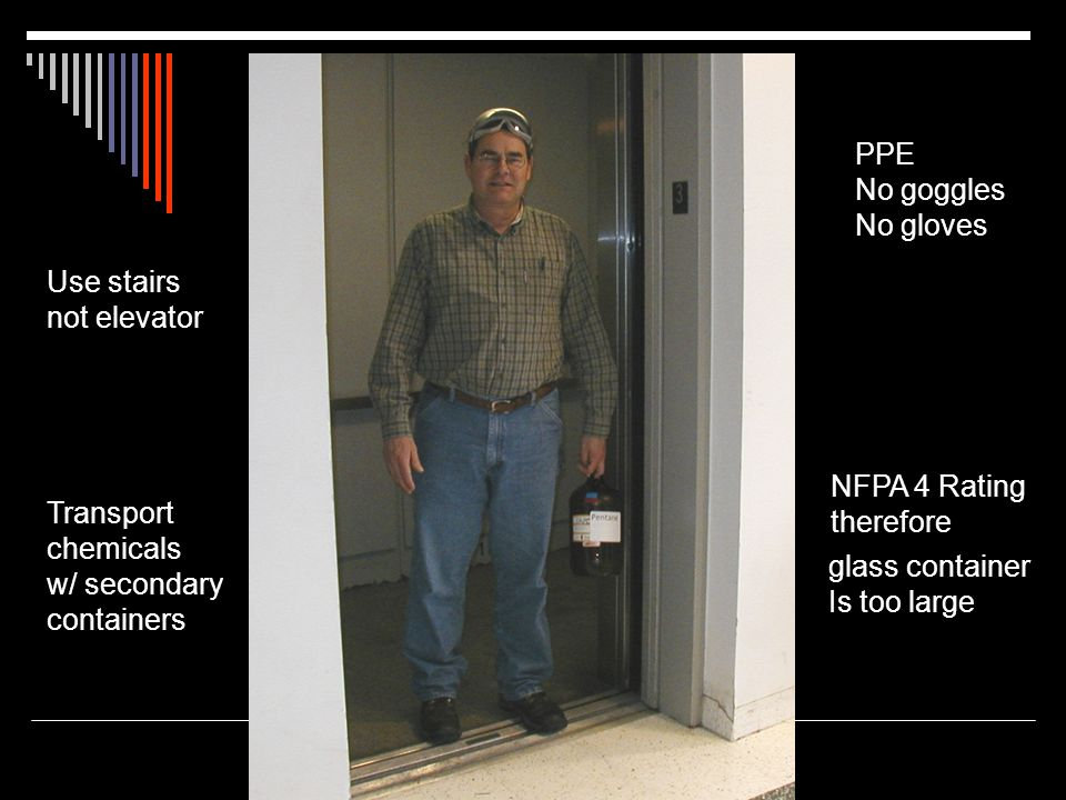 PPE No goggles. No gloves. Use stairs. not elevator. NFPA 4 Rating. therefore. Transport. chemicals.