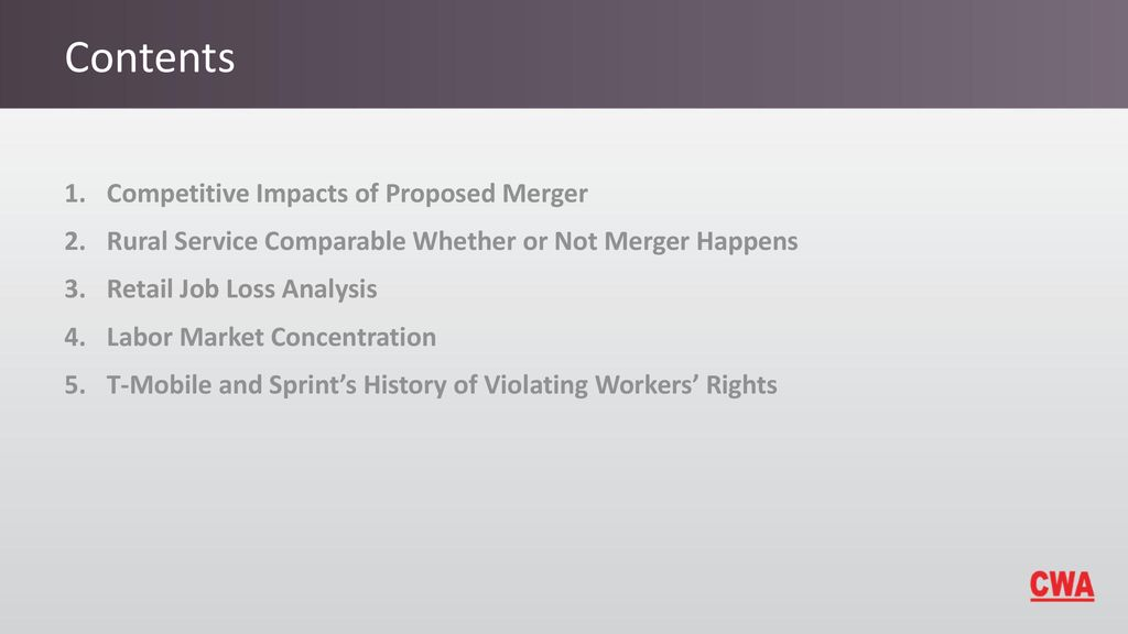 CWA Analysis of Proposed T-Mobile/Sprint Merger October ppt