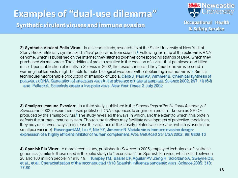 Examples of dual-use dilemma