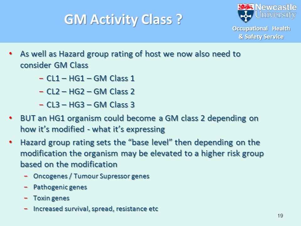 GM Activity Class As well as Hazard group rating of host we now also need to consider GM Class. CL1 – HG1 – GM Class 1.