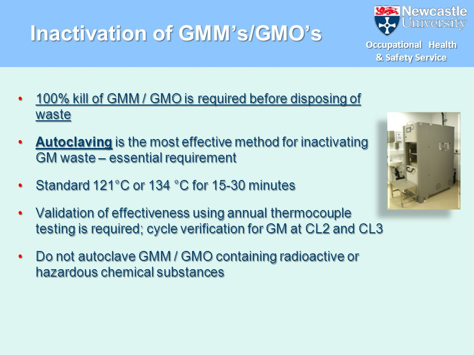 Inactivation of GMM's/GMO's