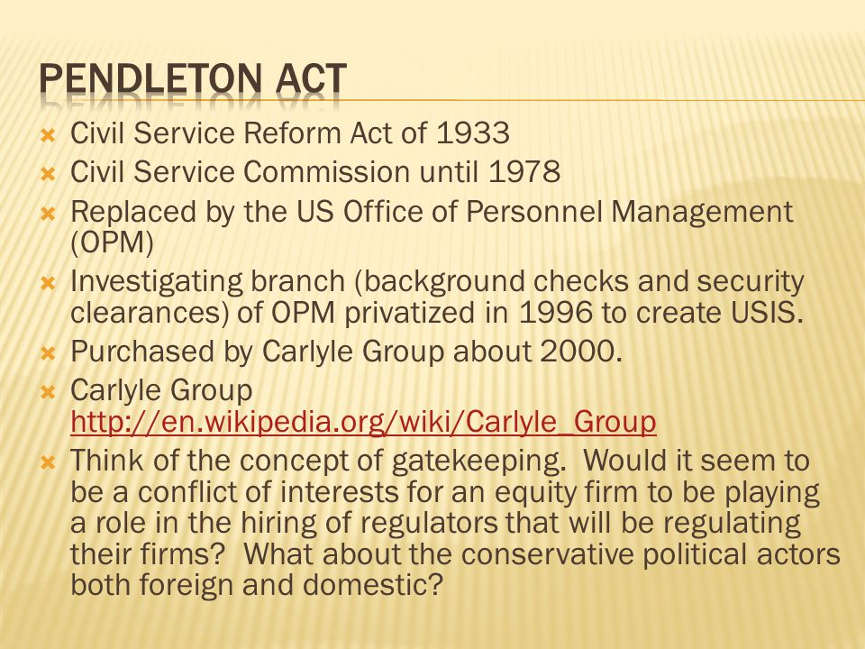 Pendleton ACT Civil Service Reform Act of 1933