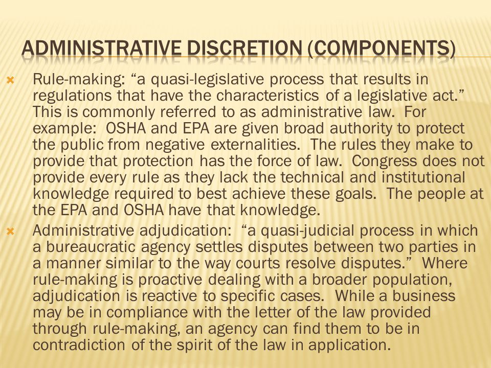 AdministRative discretion (components)