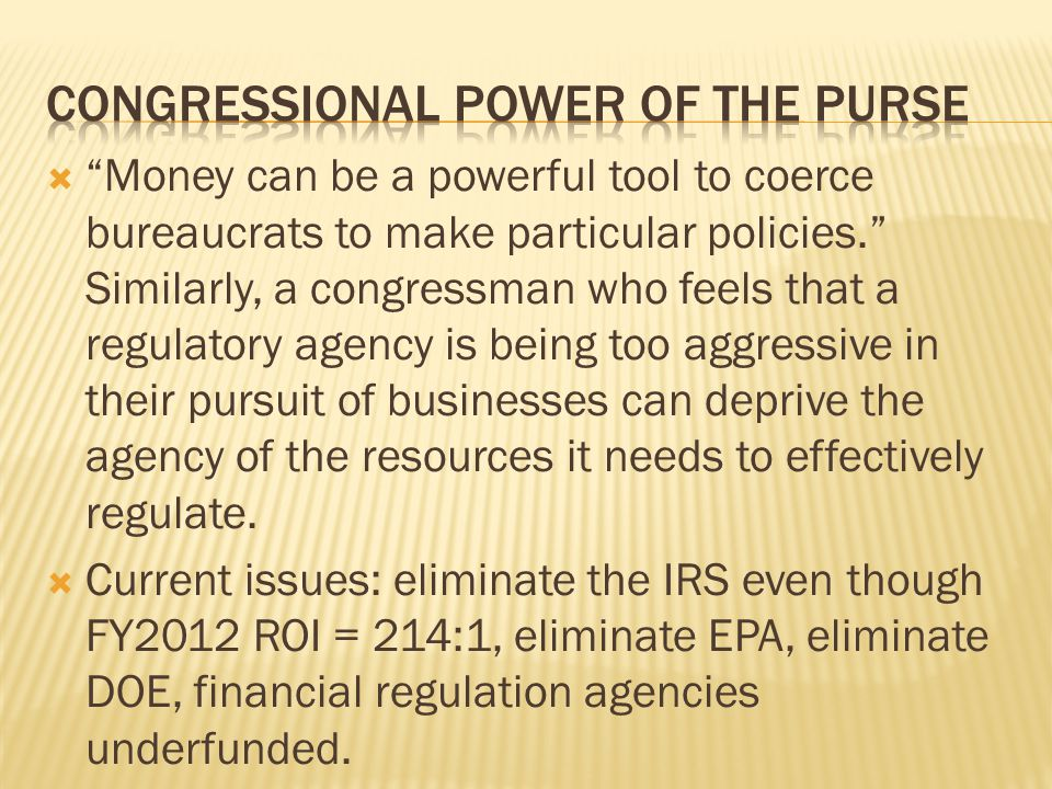 Congressional power of the purse