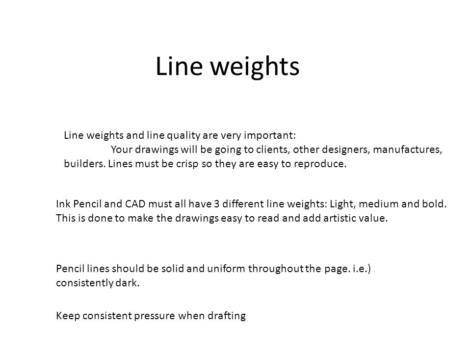 Line weights Line weights and line quality are very important: