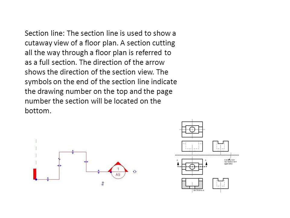 Section line: The section line is used to show a cutaway view of a floor plan.