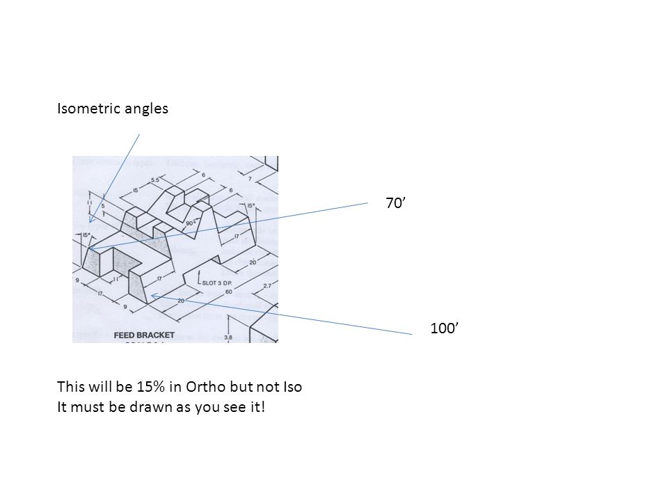 Isometric angles 70' 100' This will be 15% in Ortho but not Iso It must be drawn as you see it!