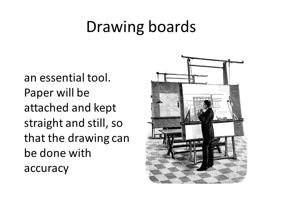 Drawing boards an essential tool.