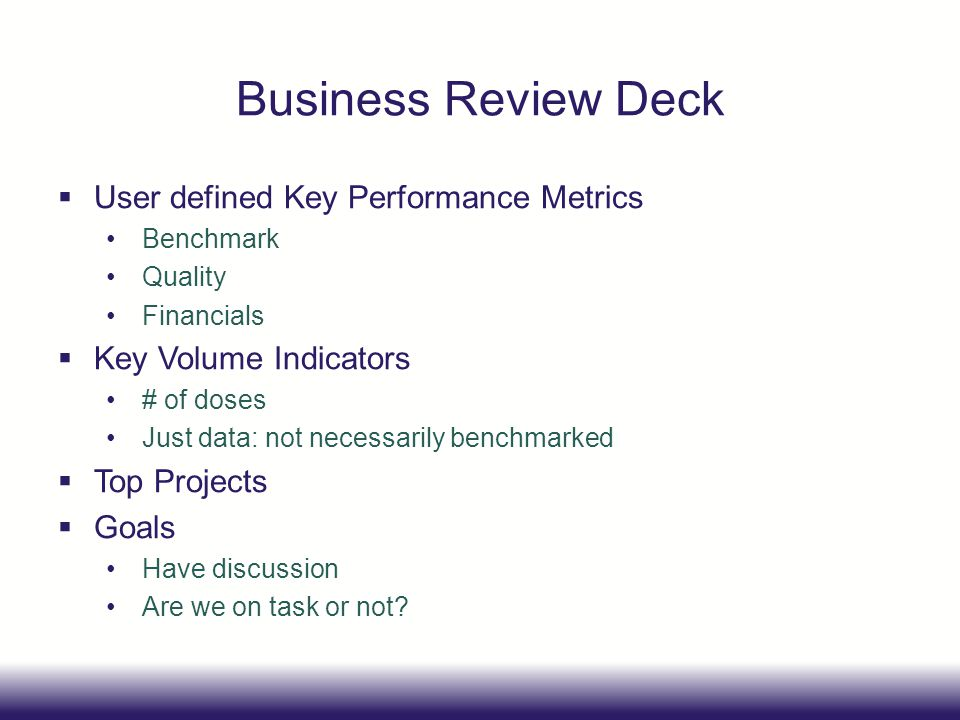 Business Review Deck User defined Key Performance Metrics