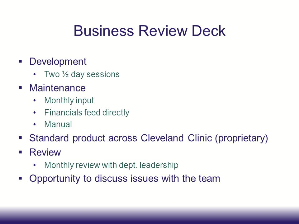 Business Review Deck Development Maintenance
