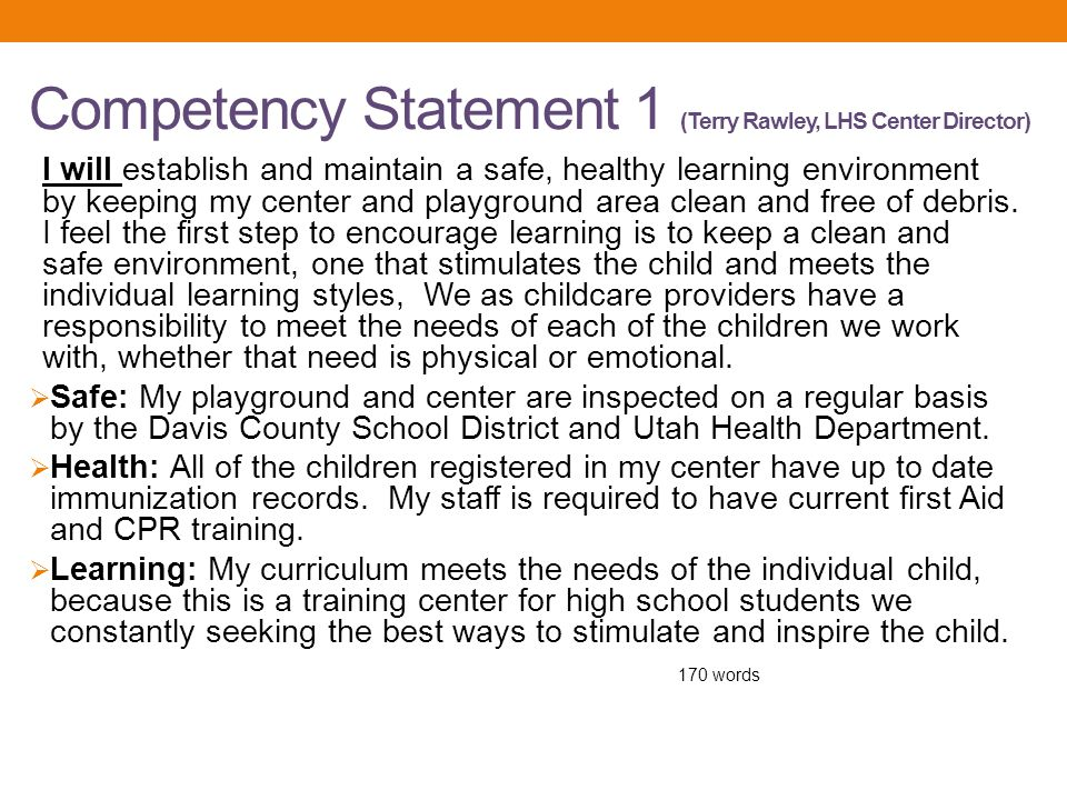 Competency Statement 1 (Terry Rawley, LHS Center Director)