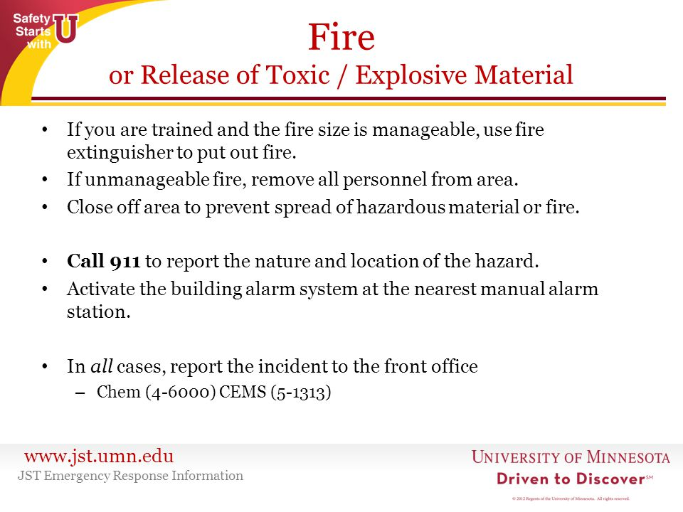 Fire or Release of Toxic / Explosive Material