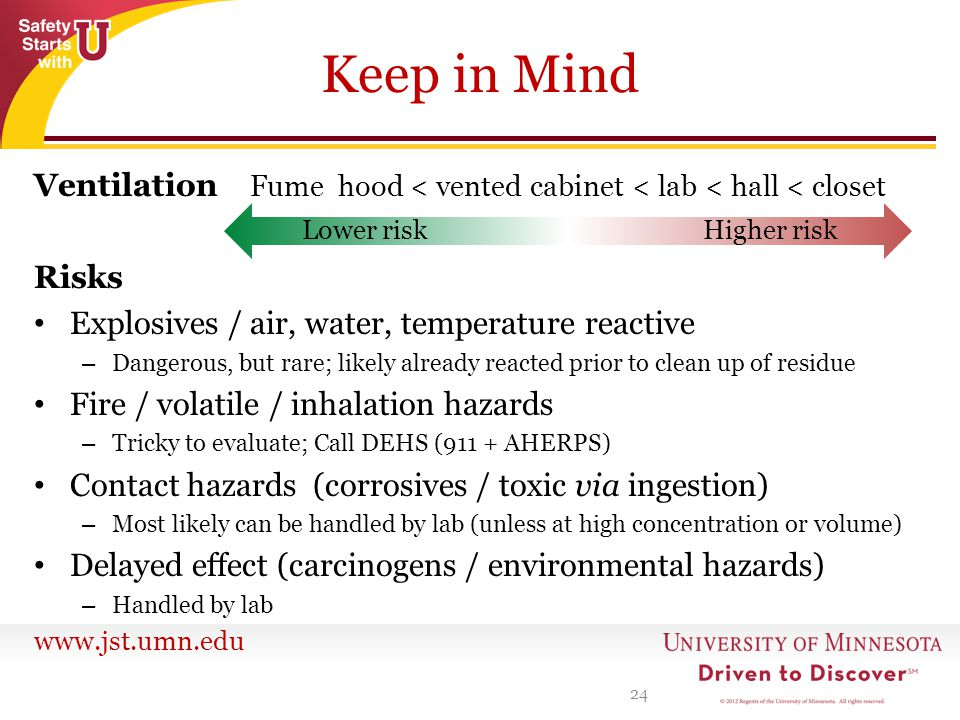 Keep in Mind Ventilation Fume hood < vented cabinet < lab < hall < closet. Risks. Explosives / air, water, temperature reactive.