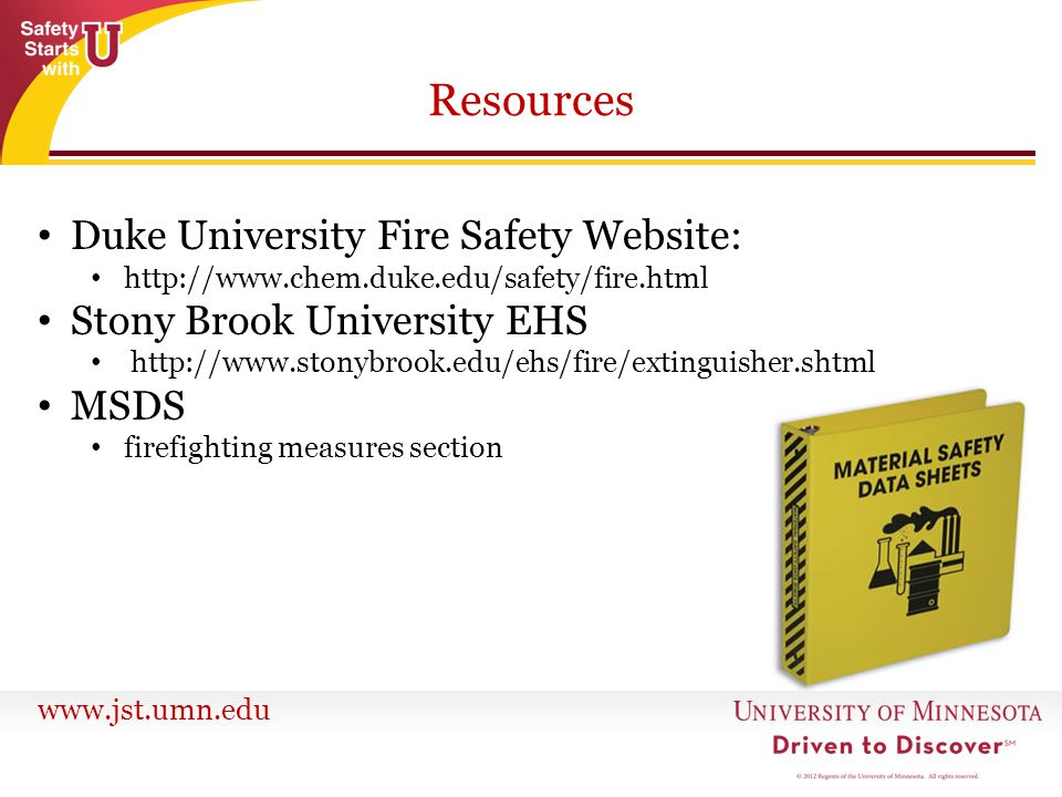 Resources Duke University Fire Safety Website: