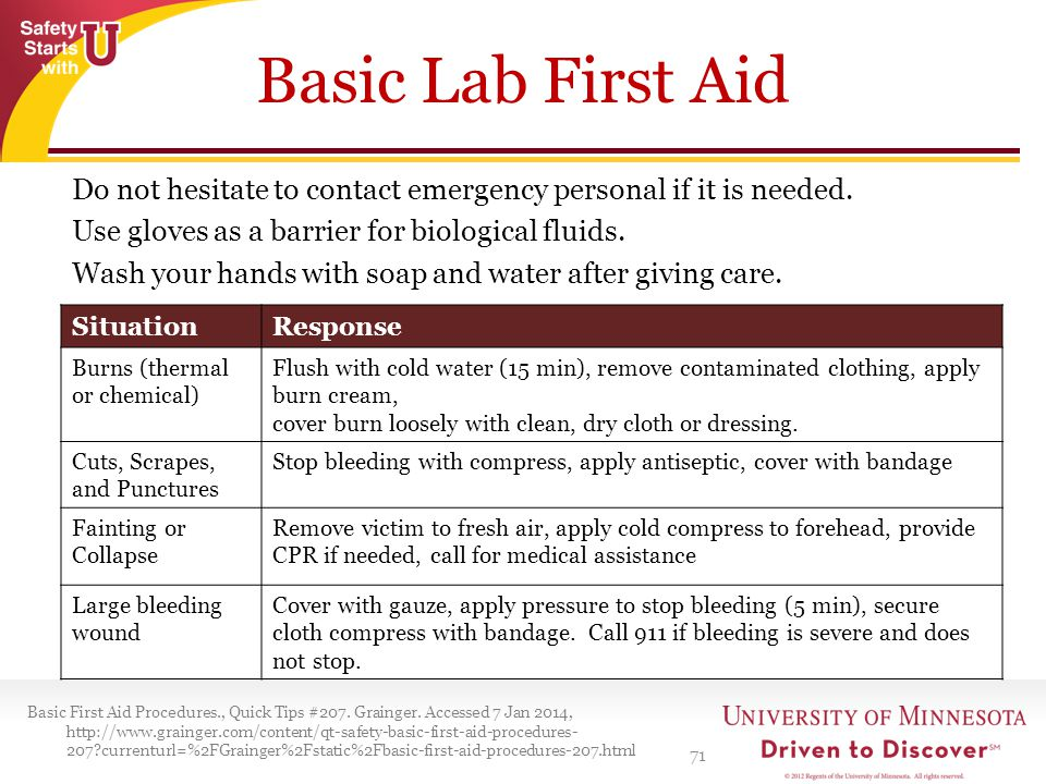 Basic Lab First Aid Do not hesitate to contact emergency personal if it is needed. Use gloves as a barrier for biological fluids.