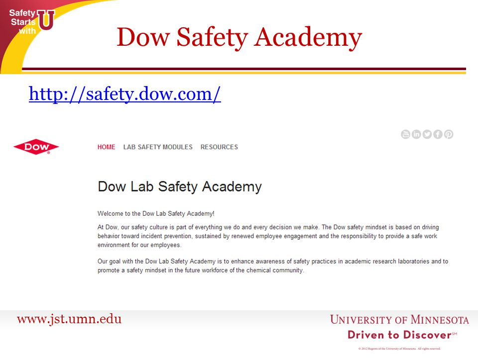 Dow Safety Academy http://safety.dow.com/