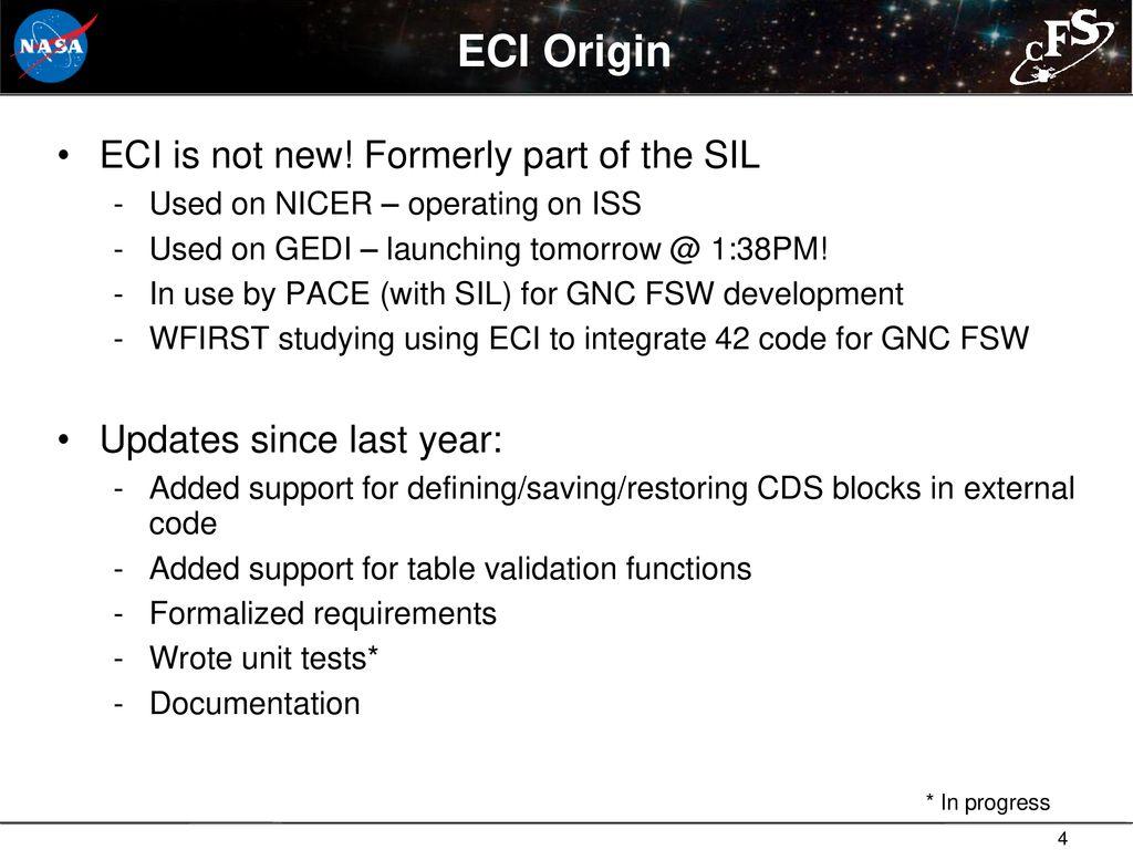 ECI, SIL, & GSFC core Flight System Workshop - ppt download