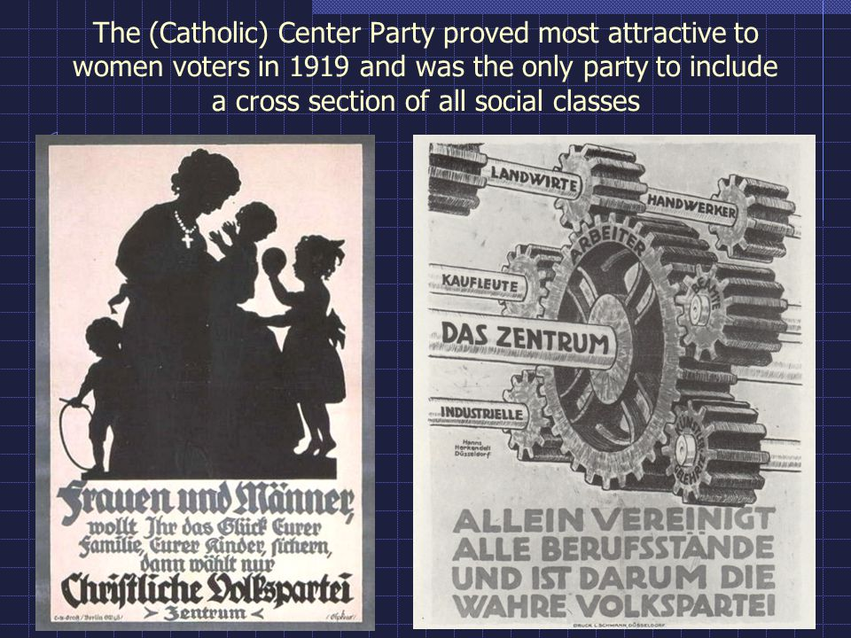 The (Catholic) Center Party proved most attractive to women voters in 1919 and was the only party to include a cross section of all social classes