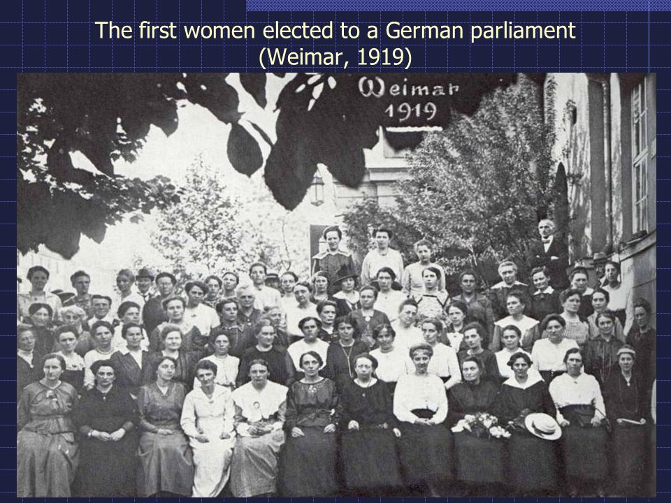 The first women elected to a German parliament (Weimar, 1919)