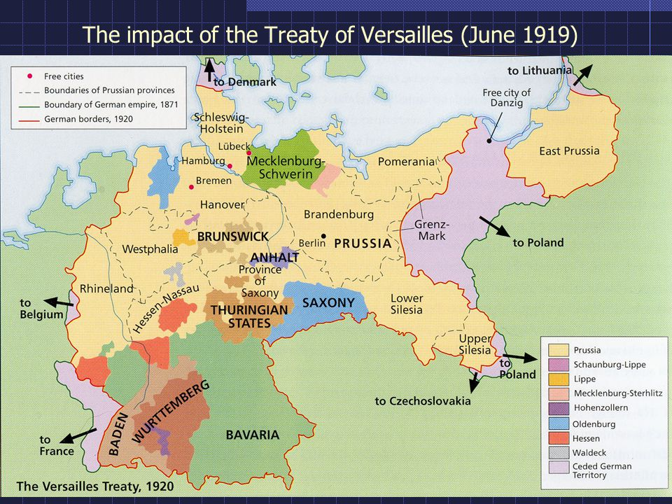 The impact of the Treaty of Versailles (June 1919)