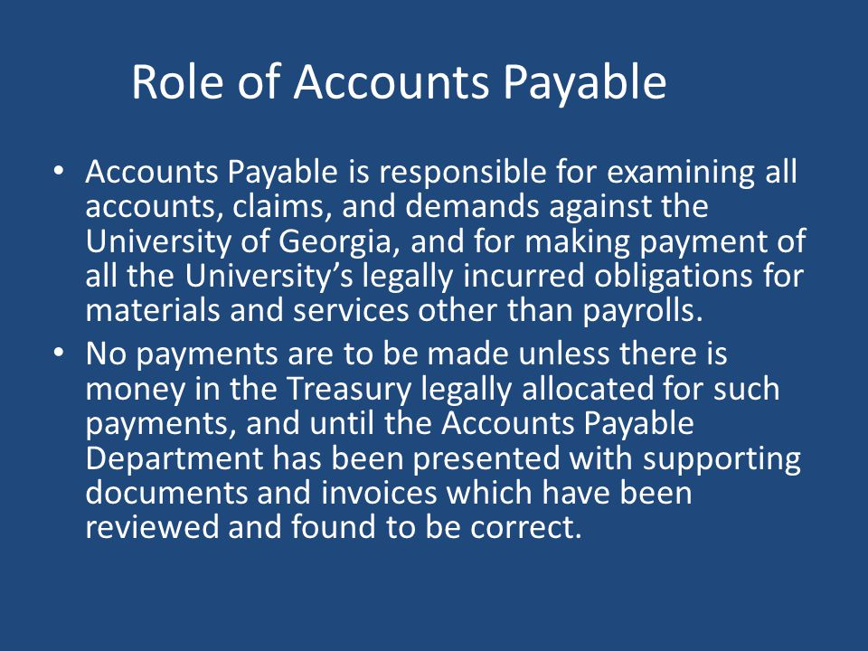 Role of Accounts Payable