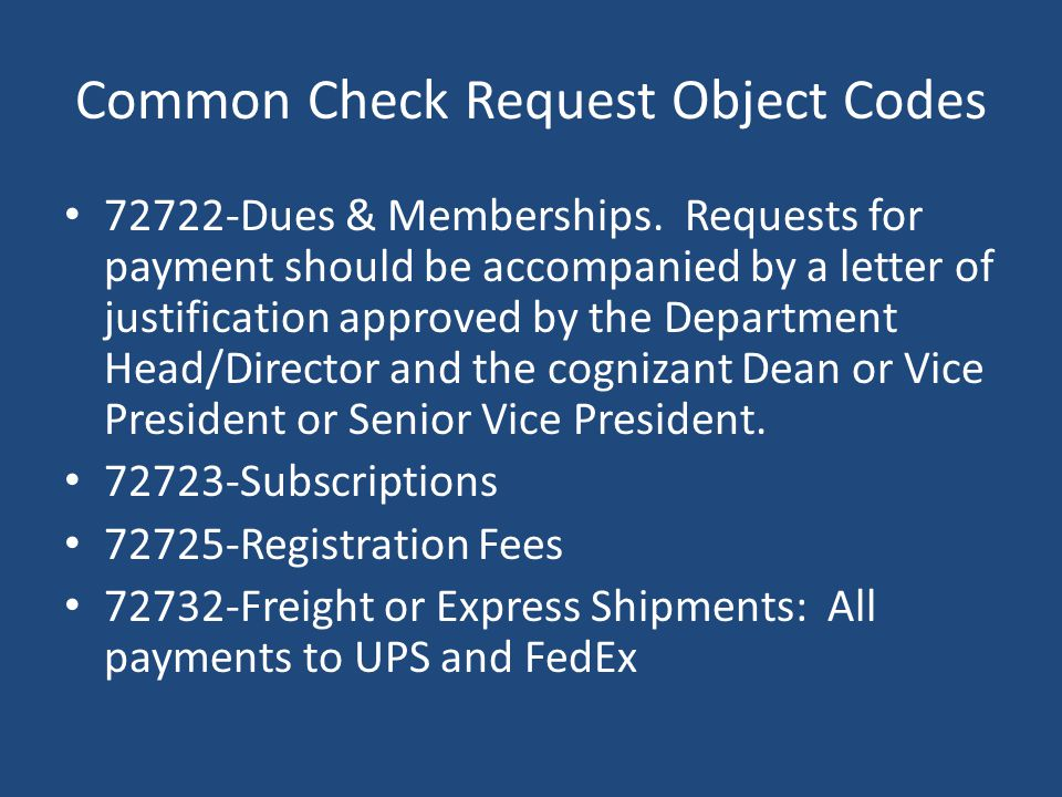 Common Check Request Object Codes