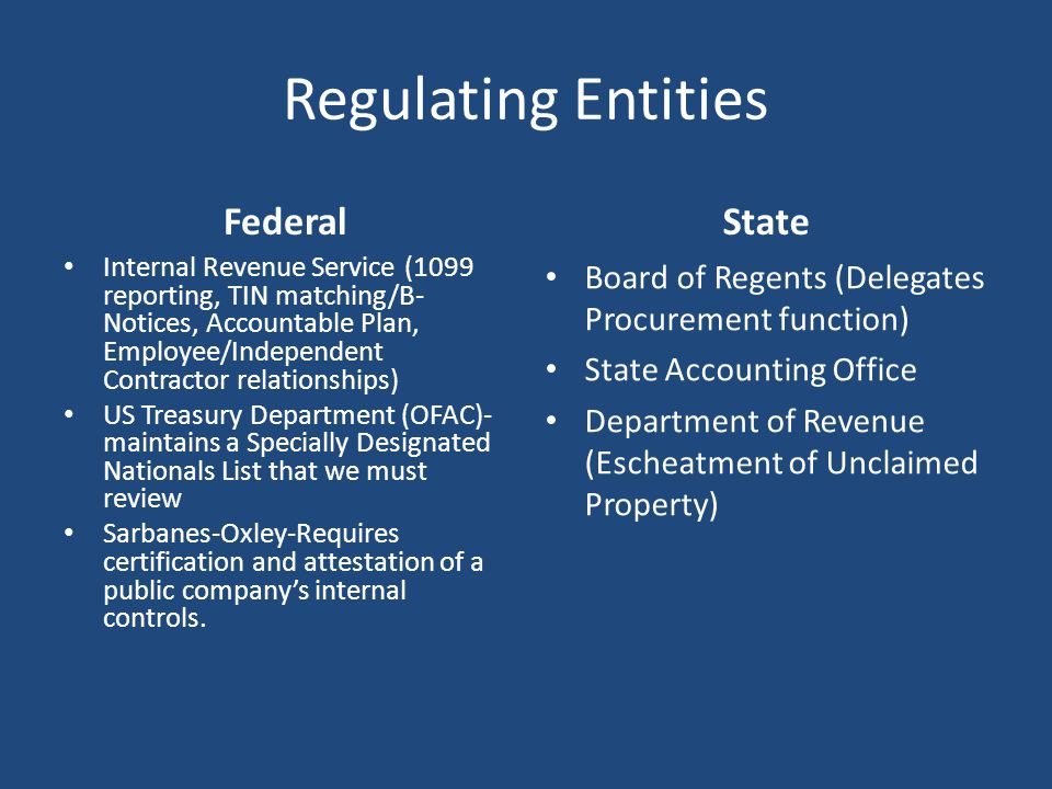 Regulating Entities Federal State