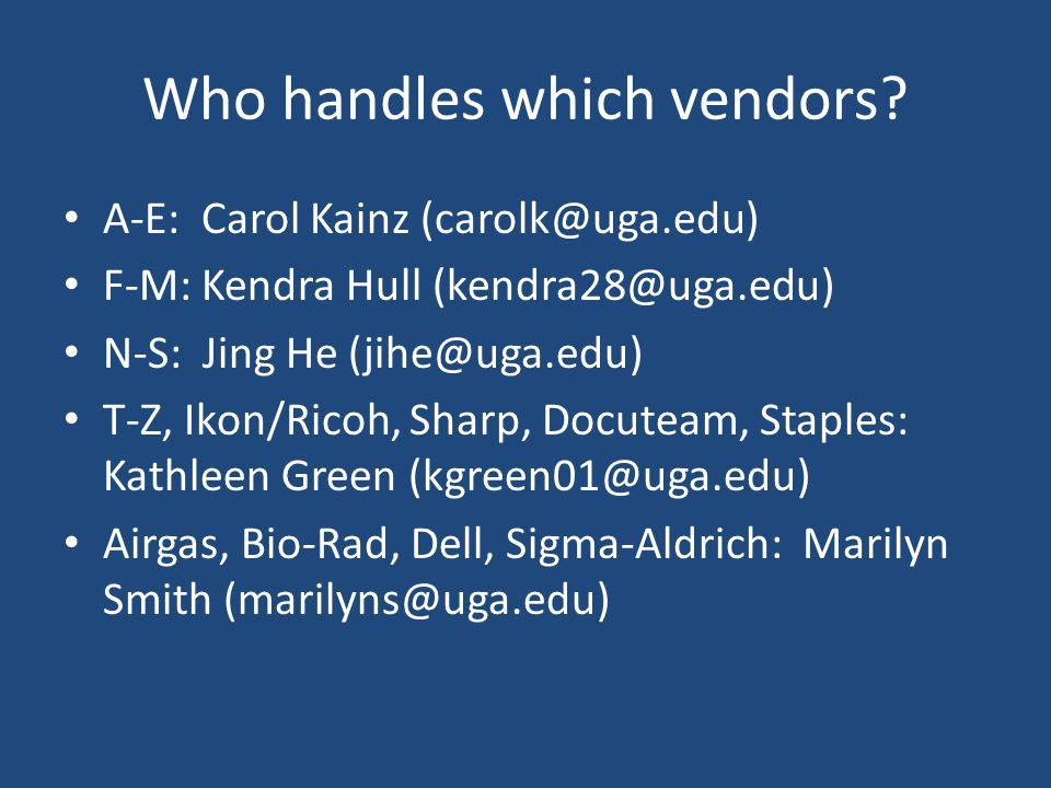 Who handles which vendors
