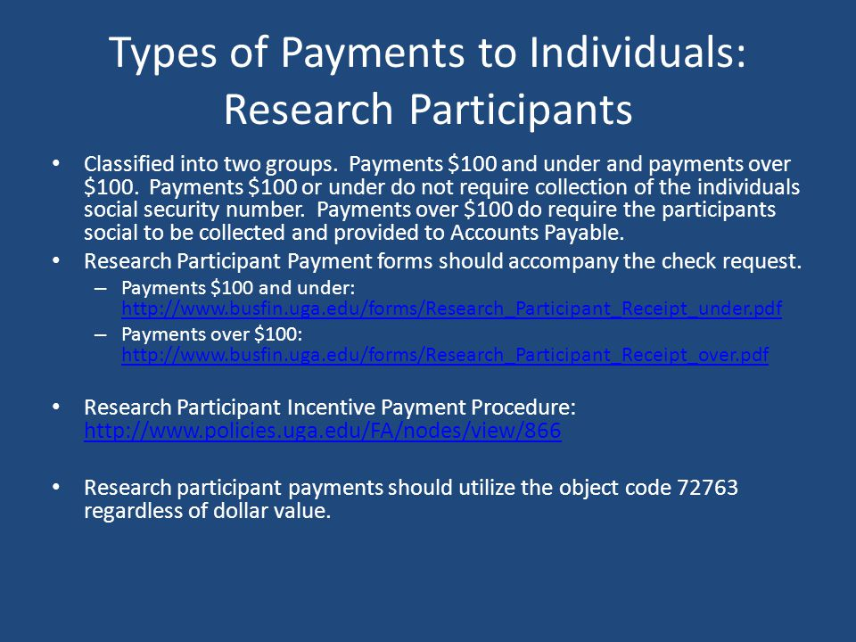 Types of Payments to Individuals: Research Participants