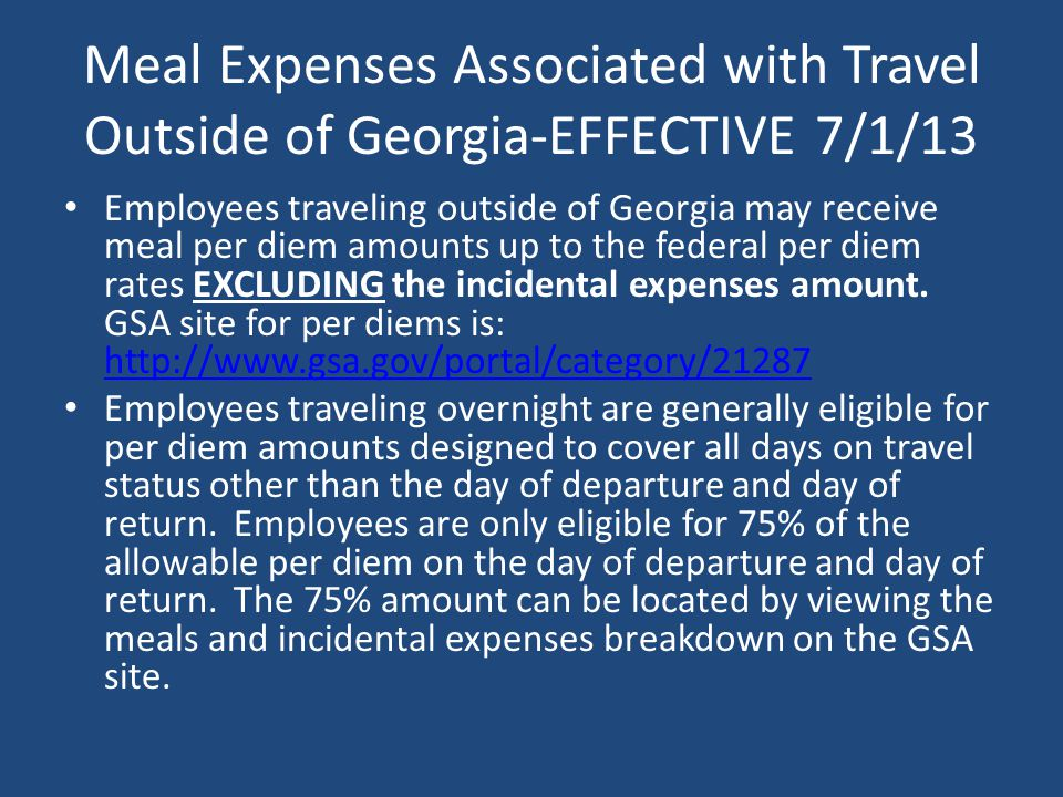 Meal Expenses Associated with Travel Outside of Georgia-EFFECTIVE 7/1/13