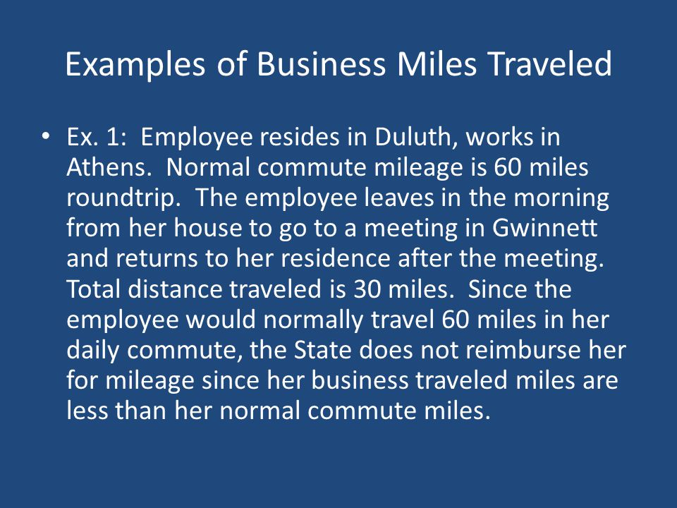Examples of Business Miles Traveled