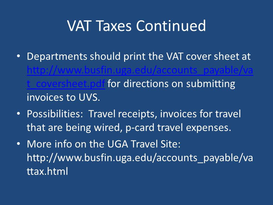 VAT Taxes Continued