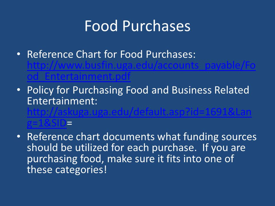 Food Purchases Reference Chart for Food Purchases: