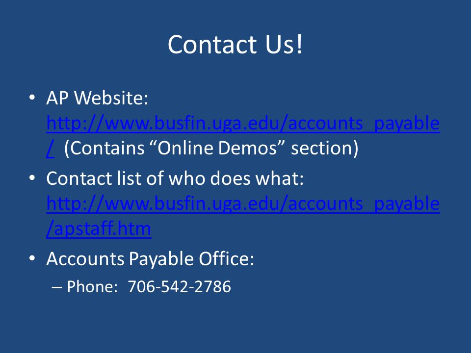 Contact Us! AP Website:   (Contains Online Demos section)