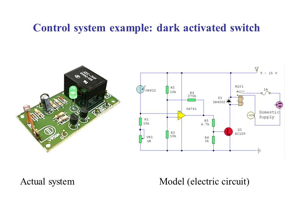 Control system example: dark activated switch