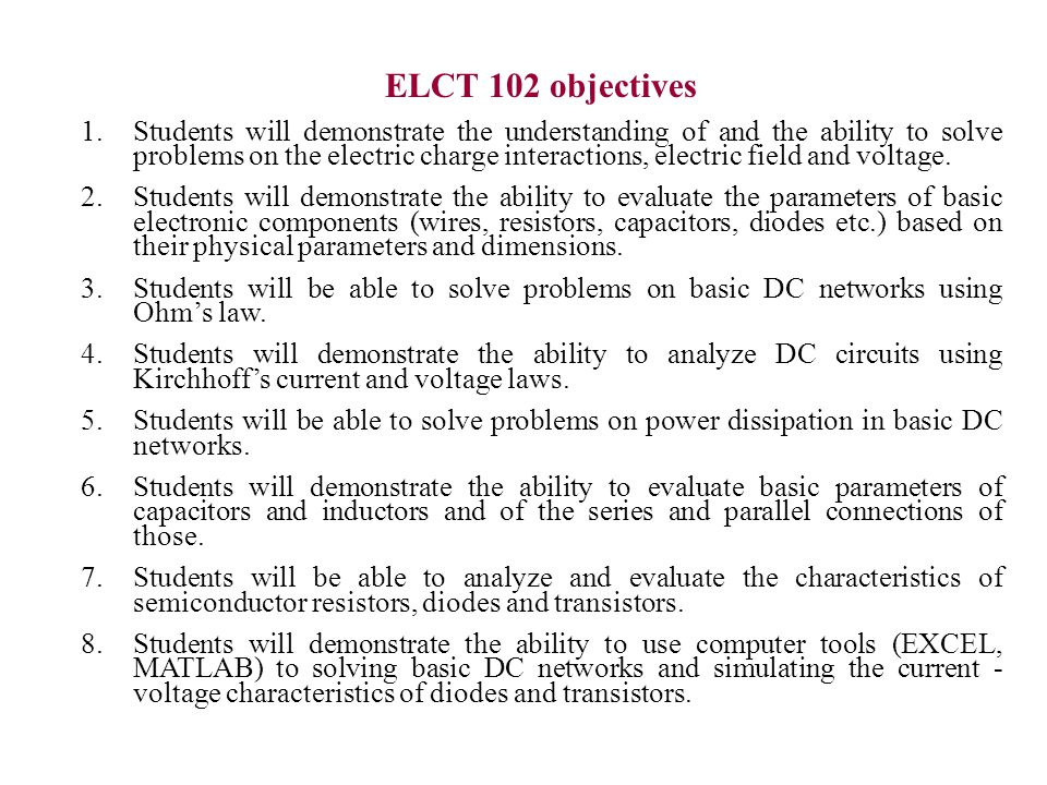 ELCT 102 objectives