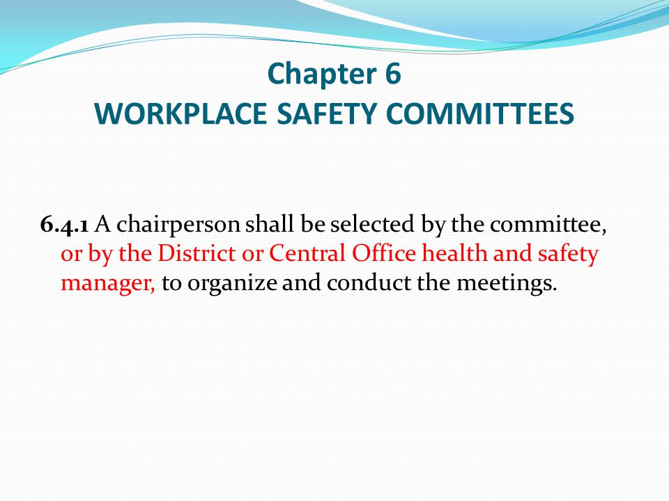 Chapter 6 WORKPLACE SAFETY COMMITTEES
