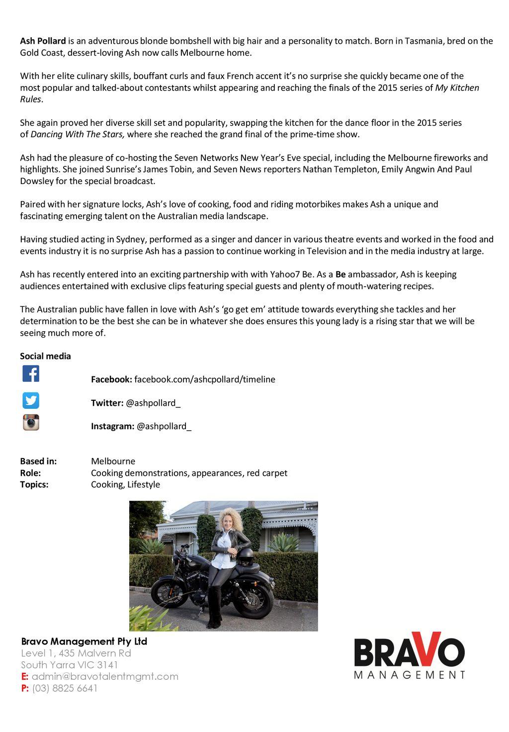 Ash Pollard Bravo Management Pty Ltd Level 1, 435 Malvern Rd