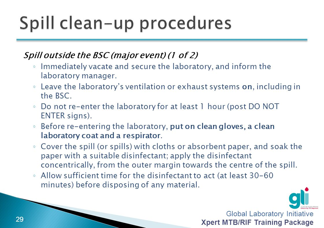 Spill clean-up procedures