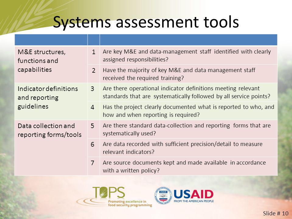 Systems assessment tools