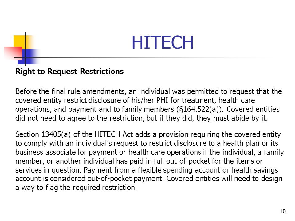 HITECH Right to Request Restrictions